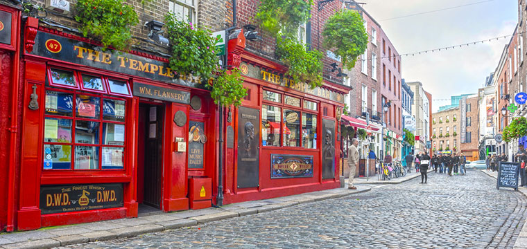 Celebrate St. Patrick's Day at the Temple Bar in Dublin, Ireland
