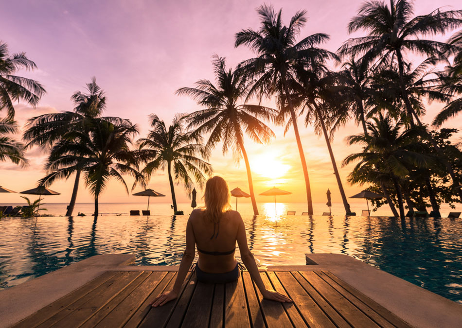 Sunset pool side in a Journese Luxury Vacation Rental