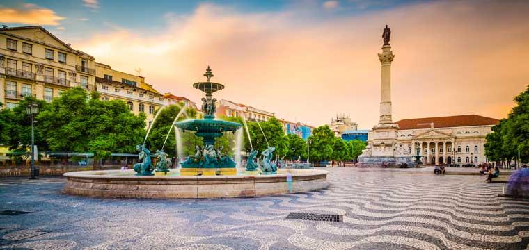 Lisbon, Portugal cityscape at Rossio Square