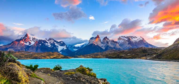Torres del Paine over the Pehoe lake, Patagonia, Chile