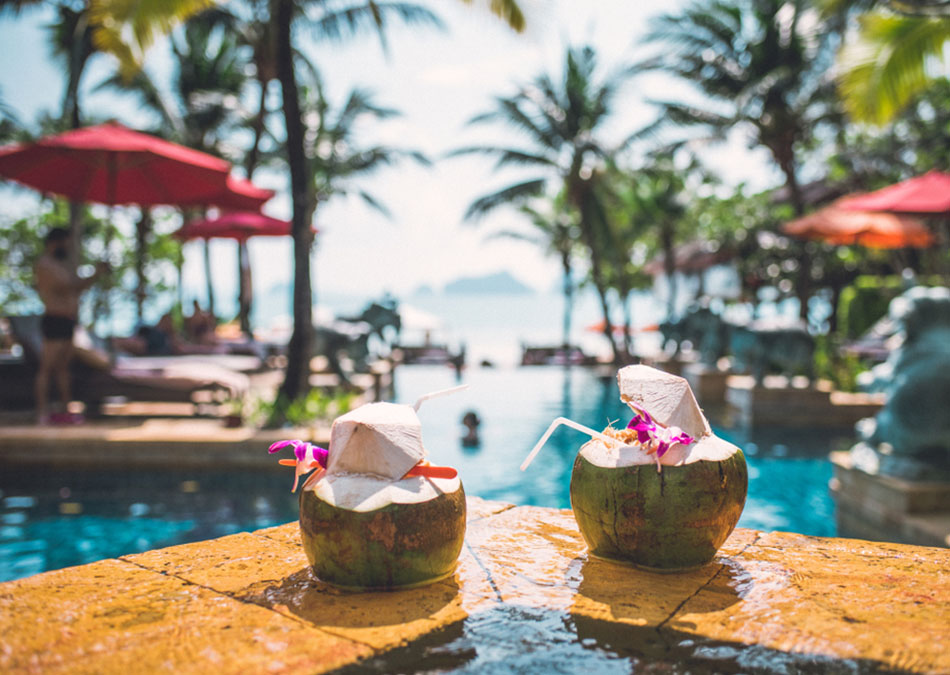 Coconut cocktails poolside in the Caribbean