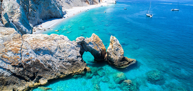 An aerial view of Lalaria beach in Skiathos, Greece