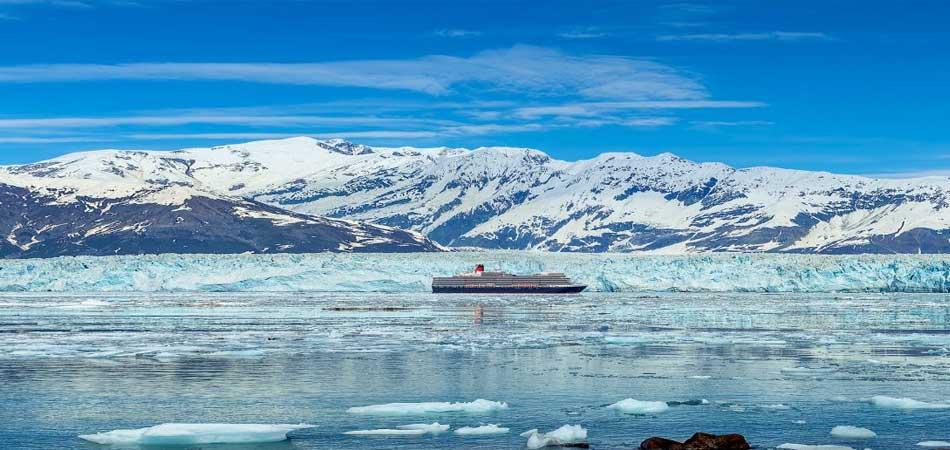 Queen Elizabeth sailing in front of the Hubbard Glacier Alaska