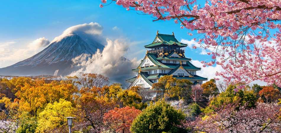 Osaka Castle with Fuji mountain background