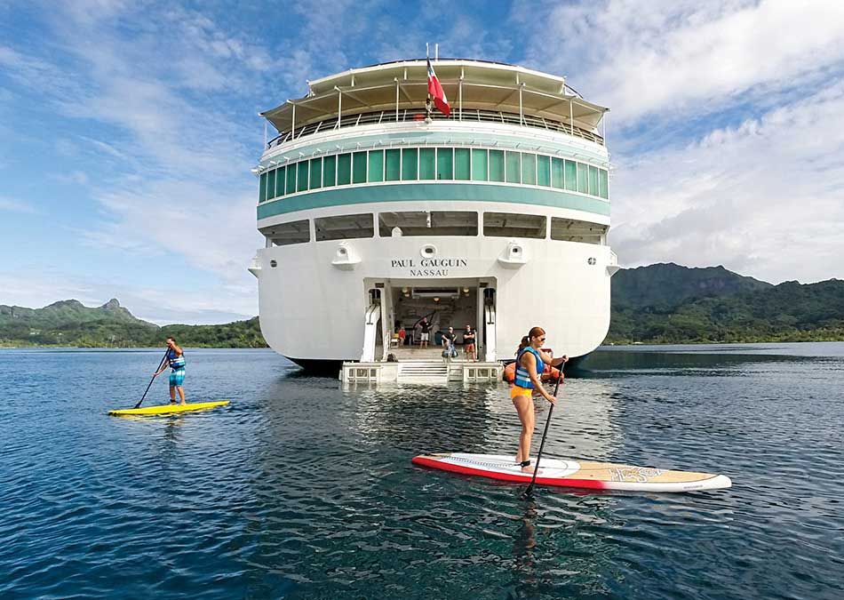 Everyone loves paddleboarding off the watersports deck