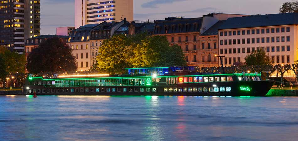'The A' ship glowing its way down the Rhine River