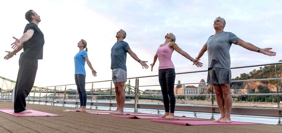 Enjoy early morning yoga on Uniworld's Sundeck