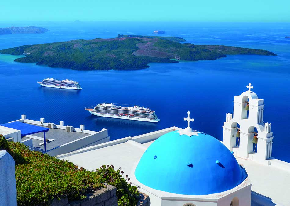 Viking Sea and Viking Star Meet in Santorini