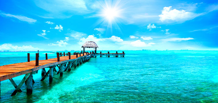 Jetty near Cancun, Mexico is an Exotic Paradise