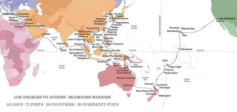 2022 World Cruise Map