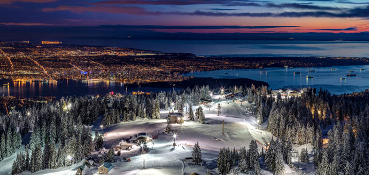Ski overlooking the entire city