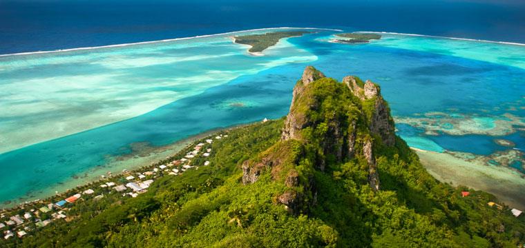 Aerial shot of Society Islands