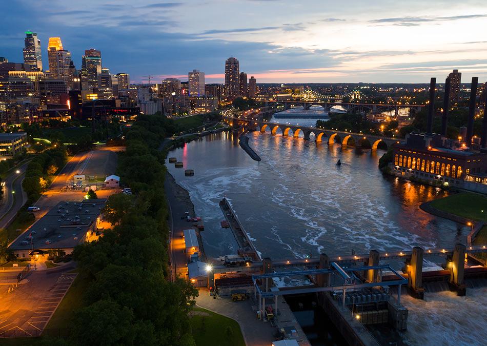 Minneapolis Minnesota Over the Mississippi River