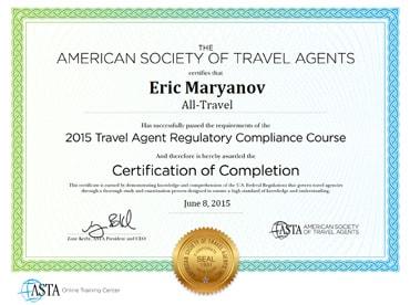 ASTA Certificate